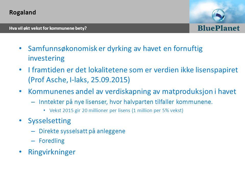 Rogaland Hva vil økt vekst for kommunene bety? Samfunnsøkonomisk er dyrking av havet en fornuftig investering I framtiden er det lokalitetene som er v