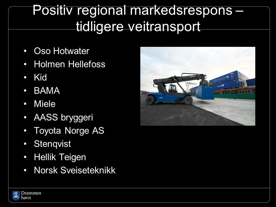 Positiv regional markedsrespons – tidligere veitransport Oso Hotwater Holmen Hellefoss Kid BAMA Miele AASS bryggeri Toyota Norge AS Stenqvist Hellik T