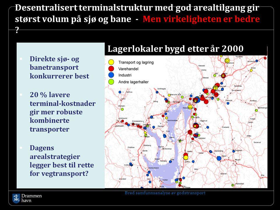 Desentralisert terminalstruktur med god arealtilgang gir størst volum på sjø og bane - Men virkeligheten er bedre ?  Direkte sjø- og banetransport ko