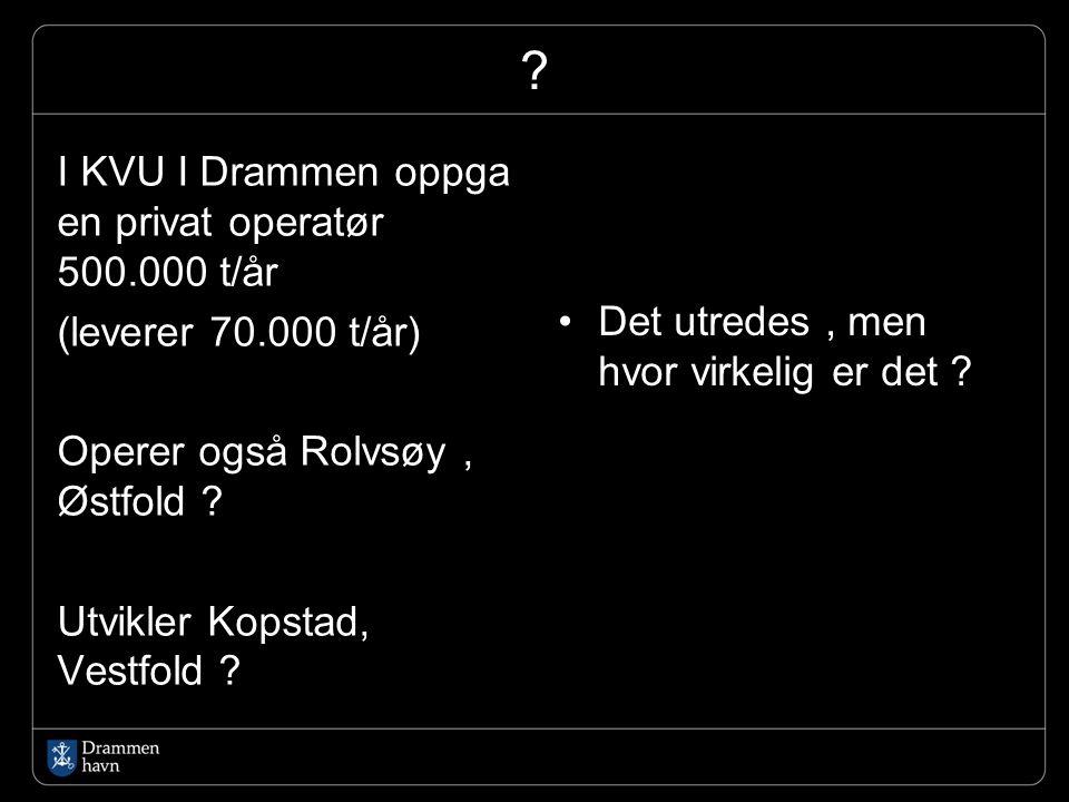 ? I KVU I Drammen oppga en privat operatør 500.000 t/år (leverer 70.000 t/år) Operer også Rolvsøy, Østfold ? Utvikler Kopstad, Vestfold ? Det utredes,