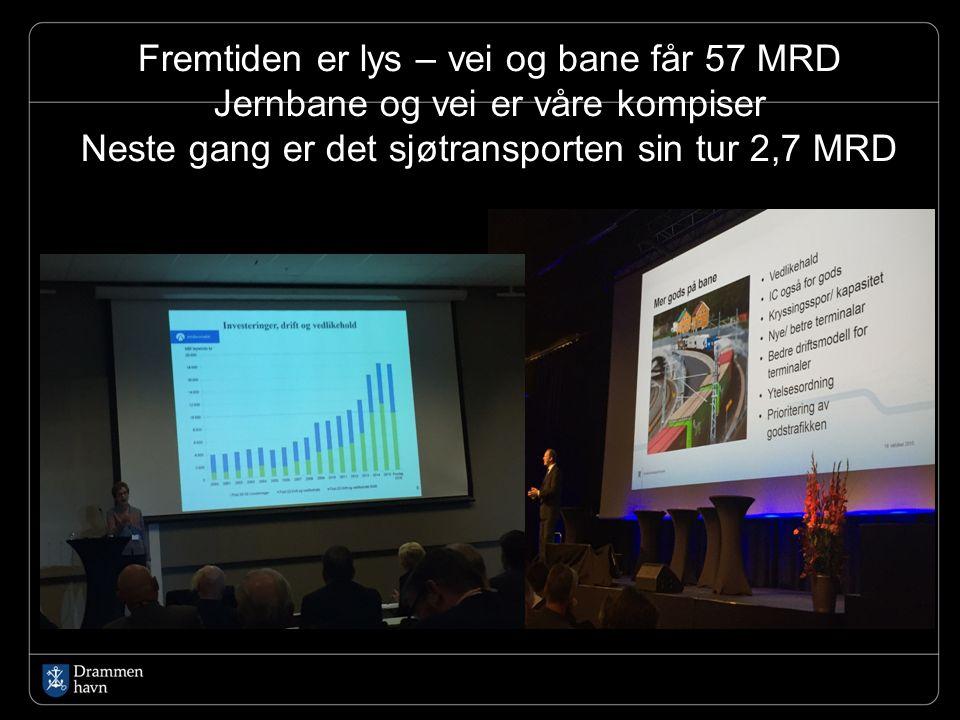 Fremtiden er lys – vei og bane får 57 MRD Jernbane og vei er våre kompiser Neste gang er det sjøtransporten sin tur 2,7 MRD
