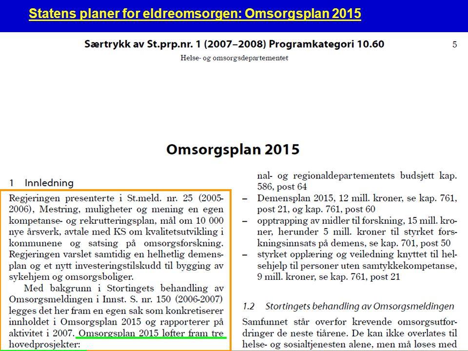 Norsk eldreomsorg3 1.Nye omsorgsplasser En langsiktig investeringsordning i Husbanken med målsetting om at det skal gis investeringstilskudd til 12 000 sykehjemsplasser og omsorgsboliger i perioden 2008-2015 2.Flere årsverk med økt kompetanse Regjeringen anslår på usikkert grunnlag at det i perioden 2008-2015 er behov for ytterligere 12 000 årsverk i omsorgstjenesten, med større faglig bredde og stor grad av fagutdanning.