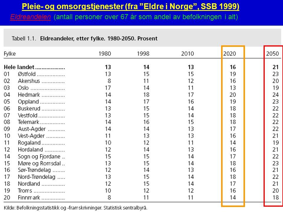 Norsk eldreomsorg27 Pleie- og omsorgstjenester (fra Eldre i Norge , SSB 1999) Eldreandelen (antall personer over 67 år som andel av befolkningen i alt)