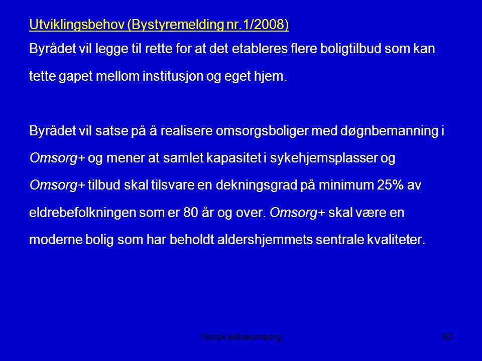 Norsk eldreomsorg63 Utviklingsbehov (Bystyremelding nr.1/2008) Byrådet vil legge til rette for at det etableres flere boligtilbud som kan tette gapet mellom institusjon og eget hjem.