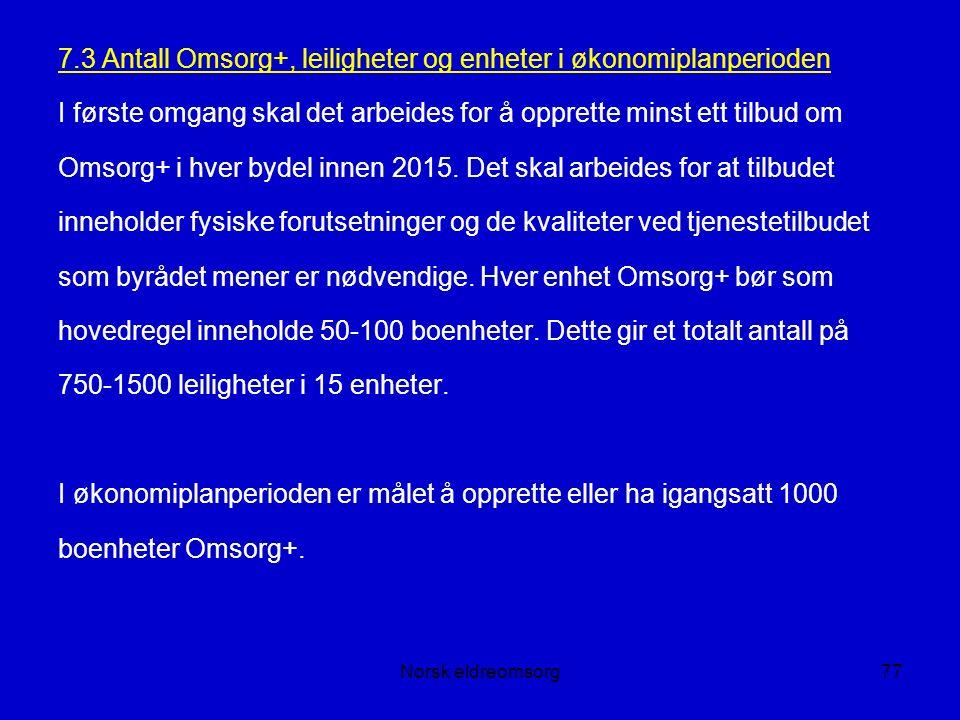 Norsk eldreomsorg77 7.3 Antall Omsorg+, leiligheter og enheter i økonomiplanperioden I første omgang skal det arbeides for å opprette minst ett tilbud om Omsorg+ i hver bydel innen 2015.