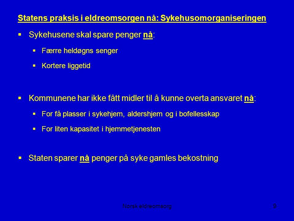 Norsk eldreomsorg40 Om eldrebølgen forts.: Full sykehjemsdekning.