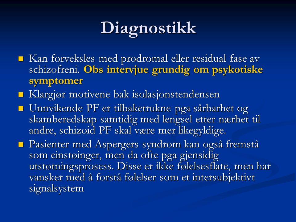 Diagnostikk Kan forveksles med prodromal eller residual fase av schizofreni.