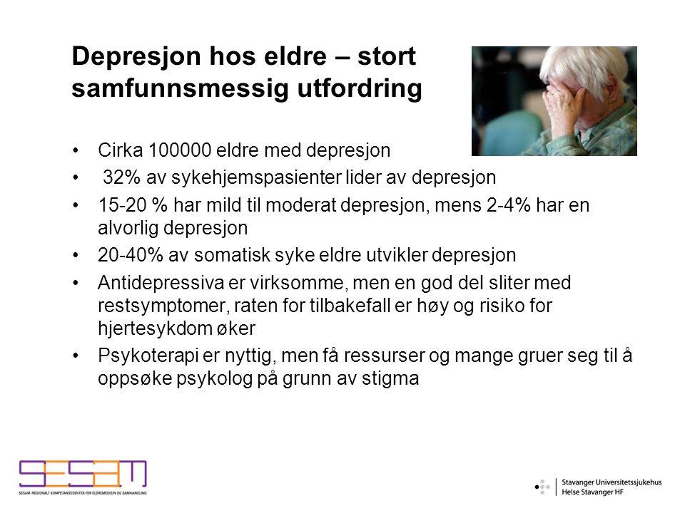 Depresjon hos eldre – stort samfunnsmessig utfordring Cirka 100000 eldre med depresjon 32% av sykehjemspasienter lider av depresjon 15-20 % har mild til moderat depresjon, mens 2-4% har en alvorlig depresjon 20-40% av somatisk syke eldre utvikler depresjon Antidepressiva er virksomme, men en god del sliter med restsymptomer, raten for tilbakefall er høy og risiko for hjertesykdom øker Psykoterapi er nyttig, men få ressurser og mange gruer seg til å oppsøke psykolog på grunn av stigma