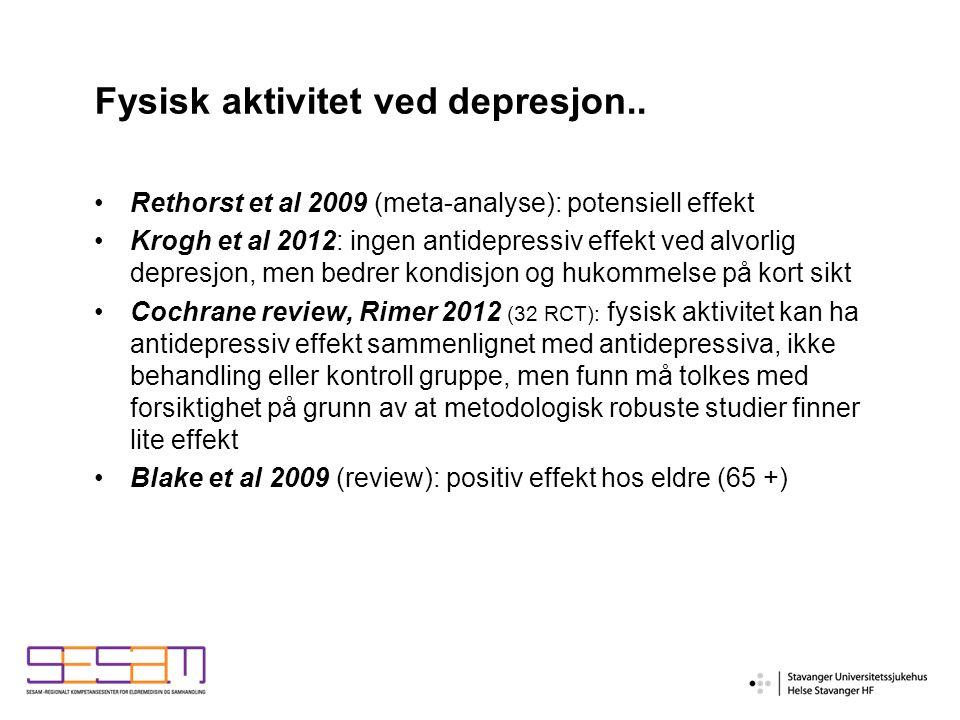 Fysisk aktivitet ved depresjon..