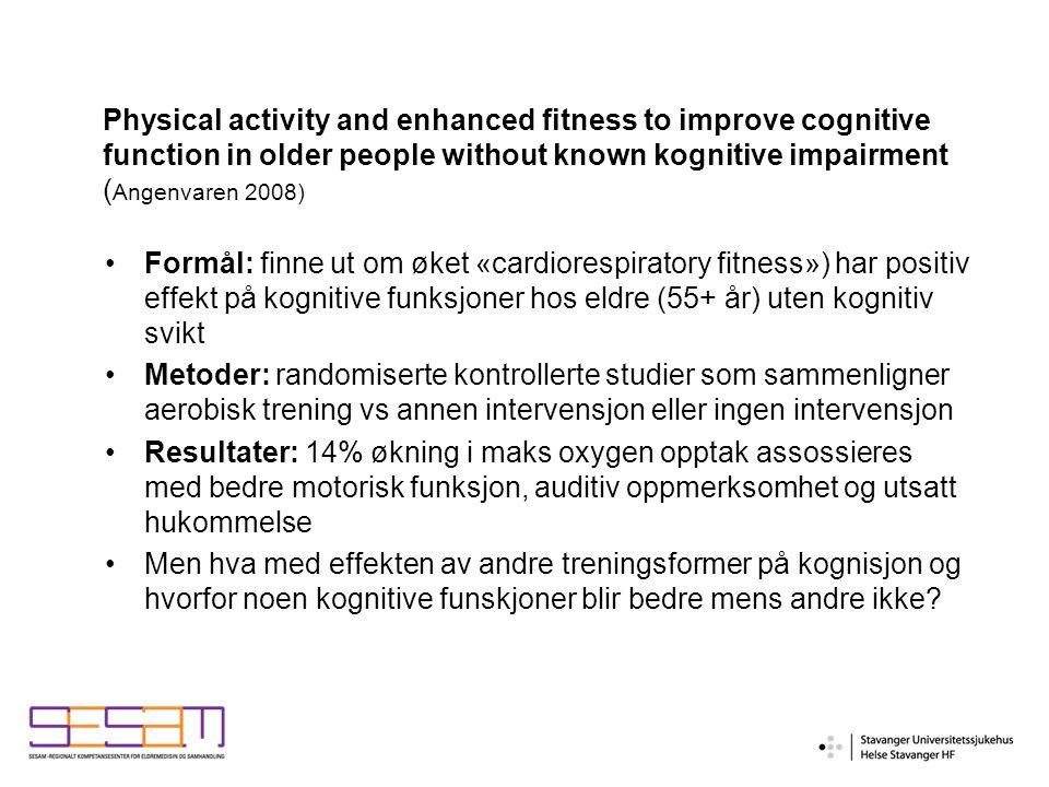 Angst og fysisk aktivitet (1) Eldre i aldersgruppen 70-75 år er minst aktive, hvorav 14% er helt inaktive Årsaker til inaktivitet: dårlig fysisk helse og angsten for å falle Veiledningsgrupper + aktivitetsgrupper: reduserer angsten for å falle (Brouwer 2003) MEN effekten av fysisk aktivitet ved angstlidelser hos eldre er i mindre grad dokumentert