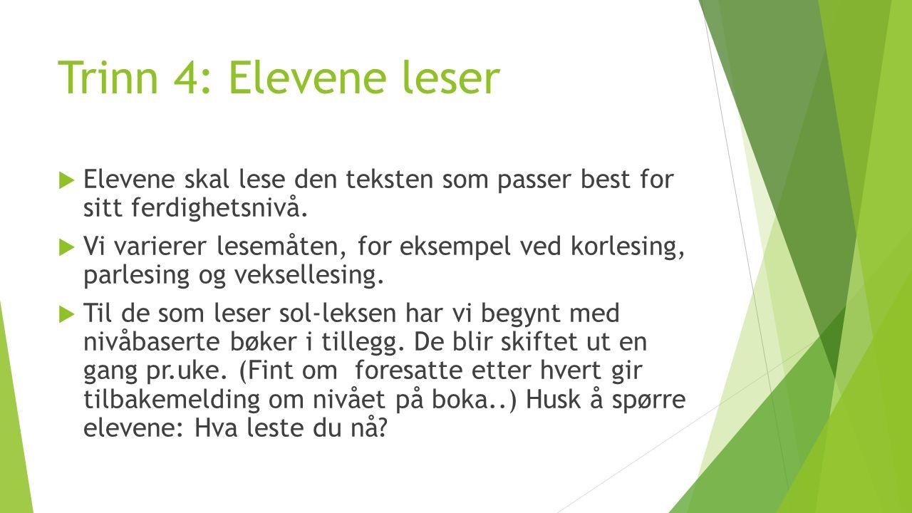 Trinn 4: Elevene leser  Elevene skal lese den teksten som passer best for sitt ferdighetsnivå.