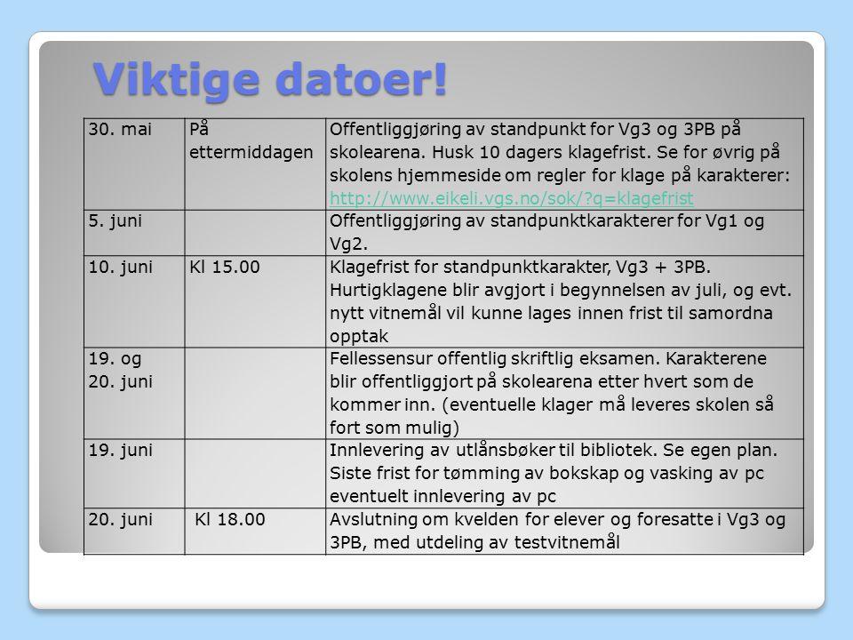 Viktige datoer! 30. mai På ettermiddagen Offentliggjøring av standpunkt for Vg3 og 3PB på skolearena. Husk 10 dagers klagefrist. Se for øvrig på skole