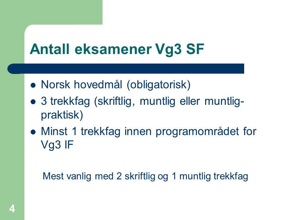 Antall eksamener Vg3 SF Norsk hovedmål (obligatorisk) 3 trekkfag (skriftlig, muntlig eller muntlig- praktisk) Minst 1 trekkfag innen programområdet for Vg3 IF Mest vanlig med 2 skriftlig og 1 muntlig trekkfag 4