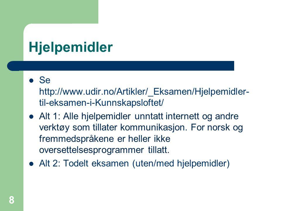 Hjelpemidler Se http://www.udir.no/Artikler/_Eksamen/Hjelpemidler- til-eksamen-i-Kunnskapsloftet/ Alt 1: Alle hjelpemidler unntatt internett og andre verktøy som tillater kommunikasjon.