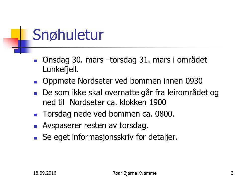 Snøhuletur Onsdag 30. mars –torsdag 31. mars i området Lunkefjell. Oppmøte Nordseter ved bommen innen 0930 De som ikke skal overnatte går fra leirområ