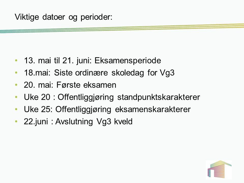 Viktige datoer og perioder: 13. mai til 21. juni: Eksamensperiode 18.mai: Siste ordinære skoledag for Vg3 20. mai: Første eksamen Uke 20 : Offentliggj