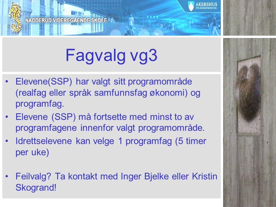 Fagvalg vg3 Elevene(SSP) har valgt sitt programområde (realfag eller språk samfunnsfag økonomi) og programfag.