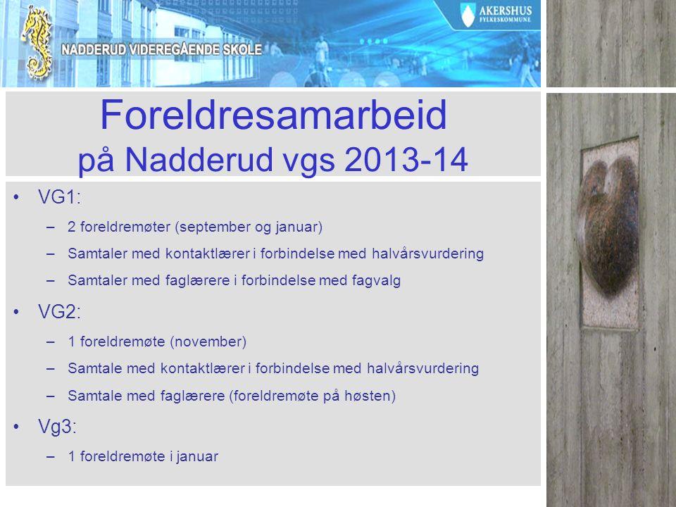 Kort om skolens ordensreglement se www.nadderud.vgs.no Om adferd: –Arbeidsro, og hensynsfull opptreden.