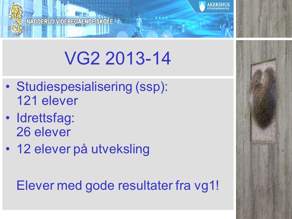VG2 2013-14 Studiespesialisering (ssp): 121 elever Idrettsfag: 26 elever 12 elever på utveksling Elever med gode resultater fra vg1!
