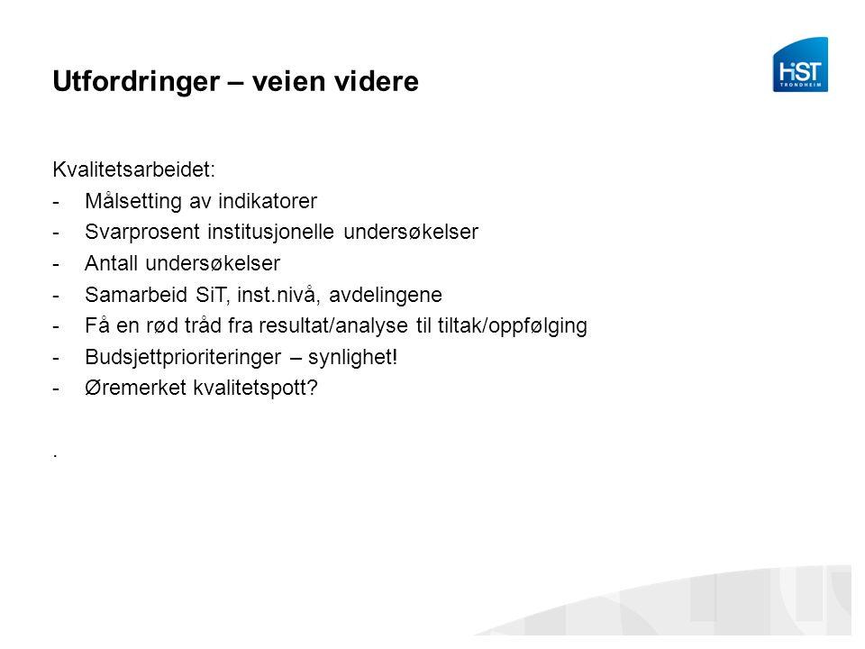 Utfordringer – veien videre Kvalitetsarbeidet: -Målsetting av indikatorer -Svarprosent institusjonelle undersøkelser -Antall undersøkelser -Samarbeid