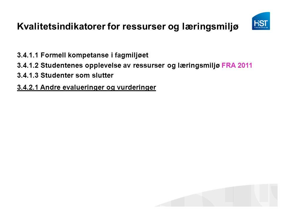 Kvalitetsindikatorer for ressurser og læringsmiljø 3.4.1.1 Formell kompetanse i fagmiljøet 3.4.1.2 Studentenes opplevelse av ressurser og læringsmiljø FRA 2011 3.4.1.3 Studenter som slutter 3.4.2.1 Andre evalueringer og vurderinger