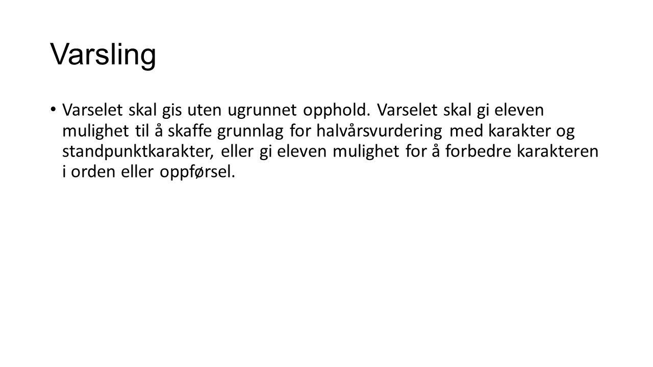 Varsling Varselet skal gis uten ugrunnet opphold.