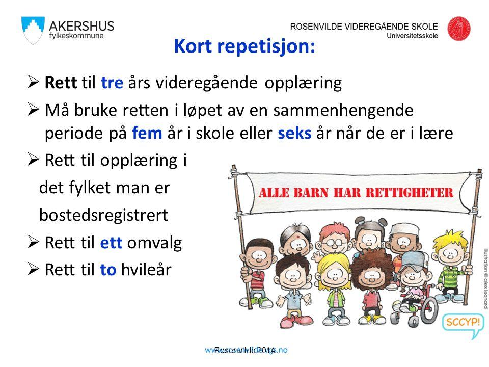 Rosenvilde 2014 Kort repetisjon:  Rett til tre års videregående opplæring  Må bruke retten i løpet av en sammenhengende periode på fem år i skole el