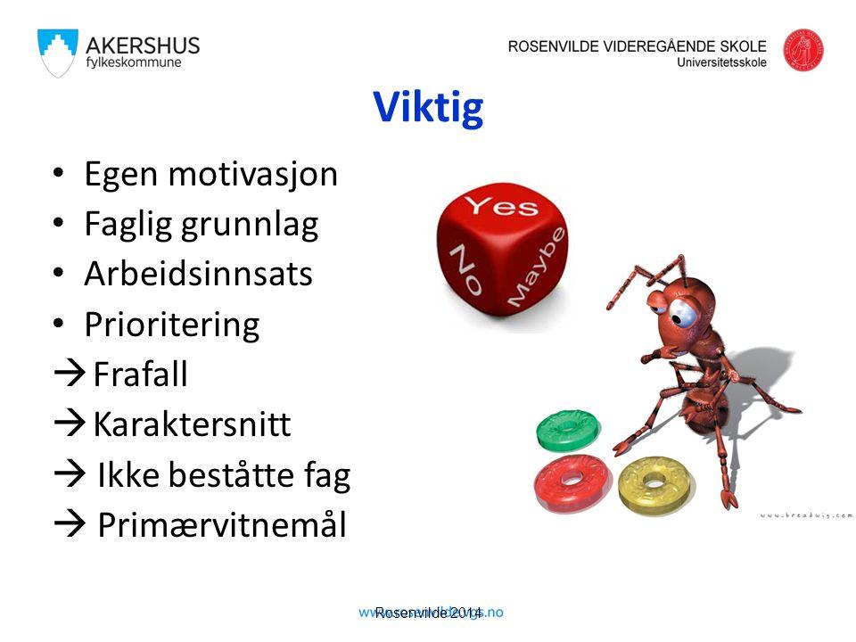 Rosenvilde 2014 Viktig Egen motivasjon Faglig grunnlag Arbeidsinnsats Prioritering  Frafall  Karaktersnitt  Ikke beståtte fag  Primærvitnemål