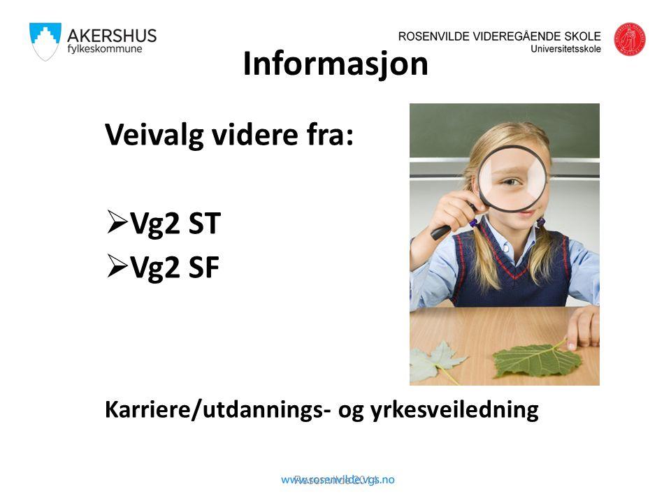 Informasjon Veivalg videre fra:  Vg2 ST  Vg2 SF Karriere/utdannings- og yrkesveiledning