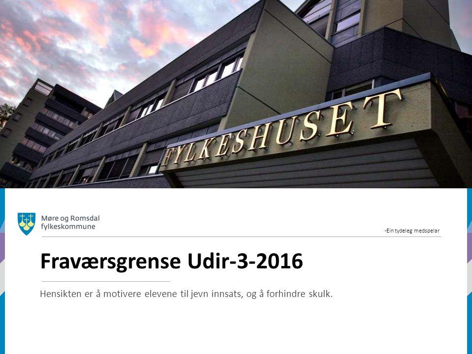 -Ein tydeleg medspelar Fraværsgrense Udir-3-2016 Hensikten er å motivere elevene til jevn innsats, og å forhindre skulk.