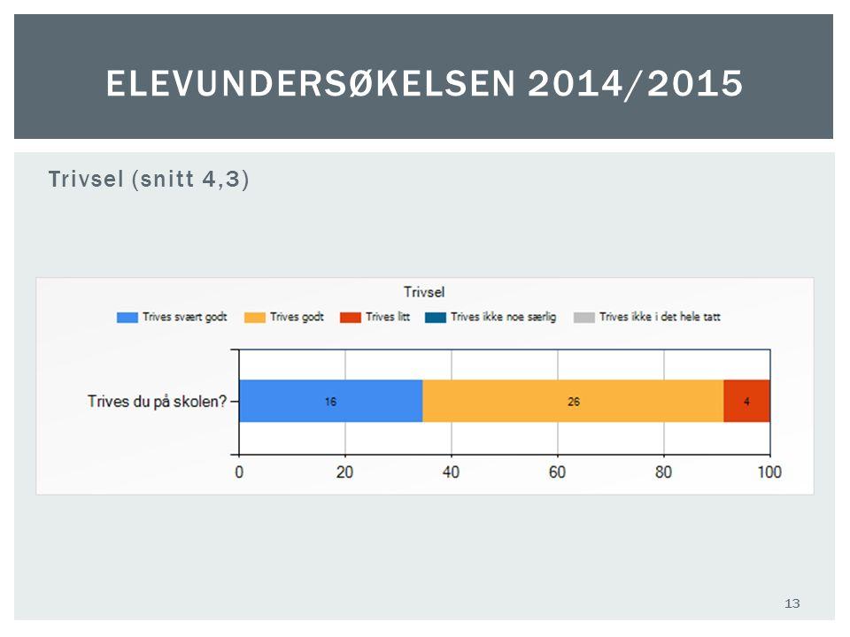 Trivsel (snitt 4,3) 13 ELEVUNDERSØKELSEN 2014/2015
