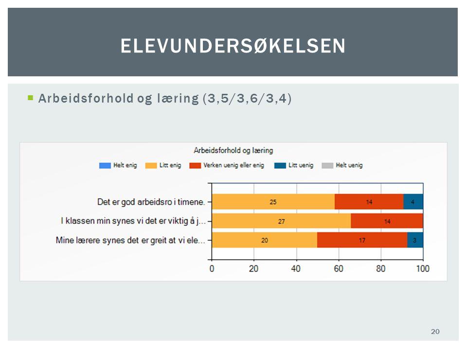  Arbeidsforhold og læring (3,5/3,6/3,4) 20 ELEVUNDERSØKELSEN
