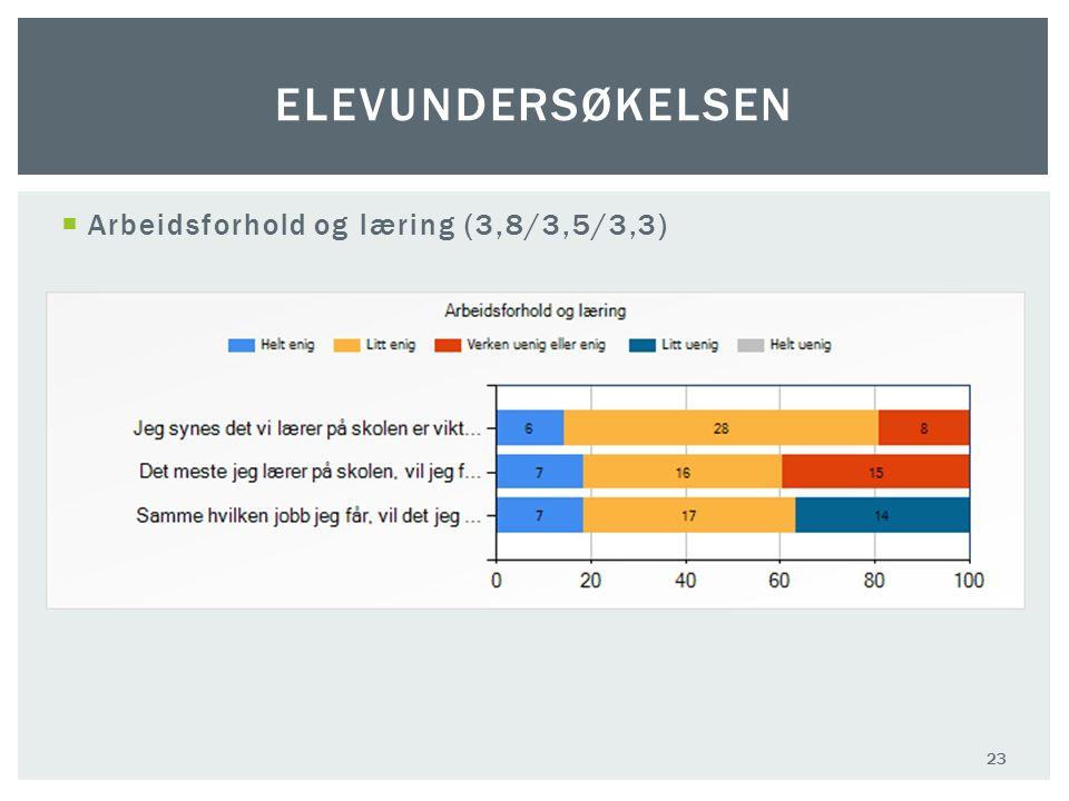  Arbeidsforhold og læring (3,8/3,5/3,3) 23 ELEVUNDERSØKELSEN