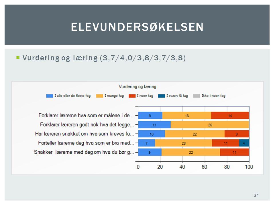  Vurdering og læring (3,7/4,0/3,8/3,7/3,8) 24 ELEVUNDERSØKELSEN