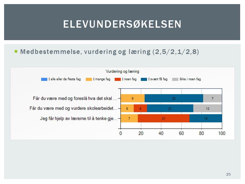 Medbestemmelse, vurdering og læring (2,5/2,1/2,8) 25 ELEVUNDERSØKELSEN