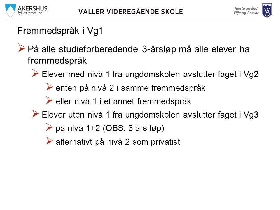 Fremmedspråk i Vg1  På alle studieforberedende 3-årsløp må alle elever ha fremmedspråk  Elever med nivå 1 fra ungdomskolen avslutter faget i Vg2  e