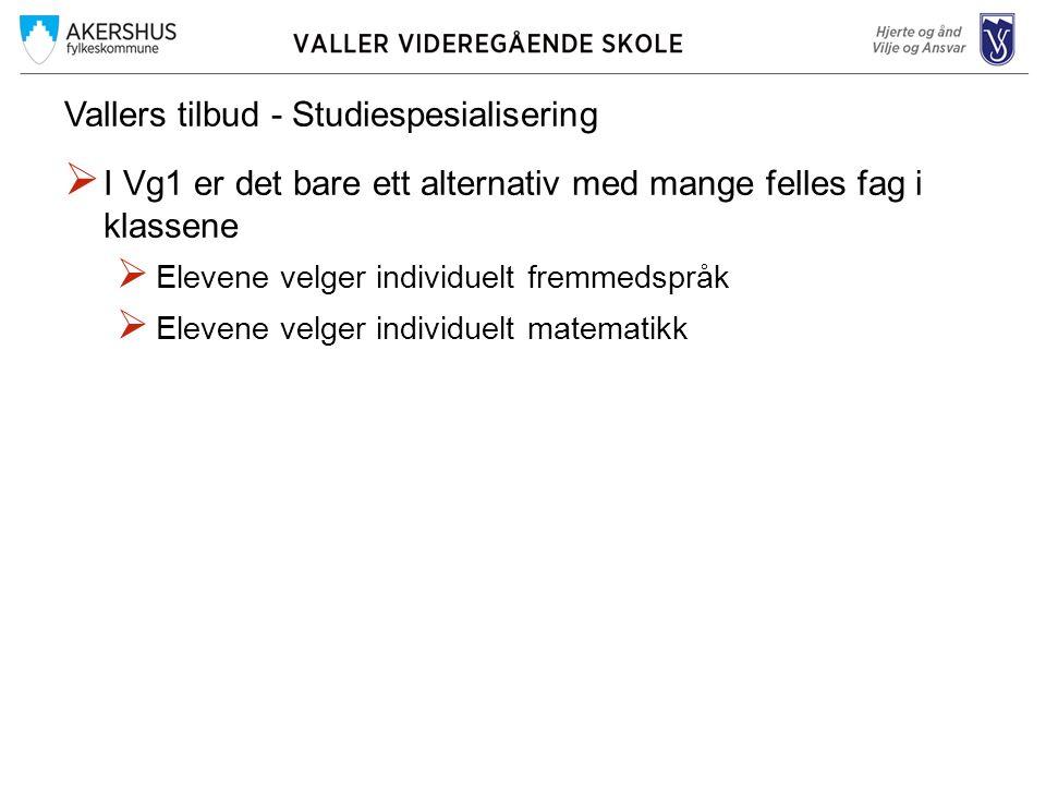 Vallers tilbud - Studiespesialisering  I Vg1 er det bare ett alternativ med mange felles fag i klassene  Elevene velger individuelt fremmedspråk  Elevene velger individuelt matematikk