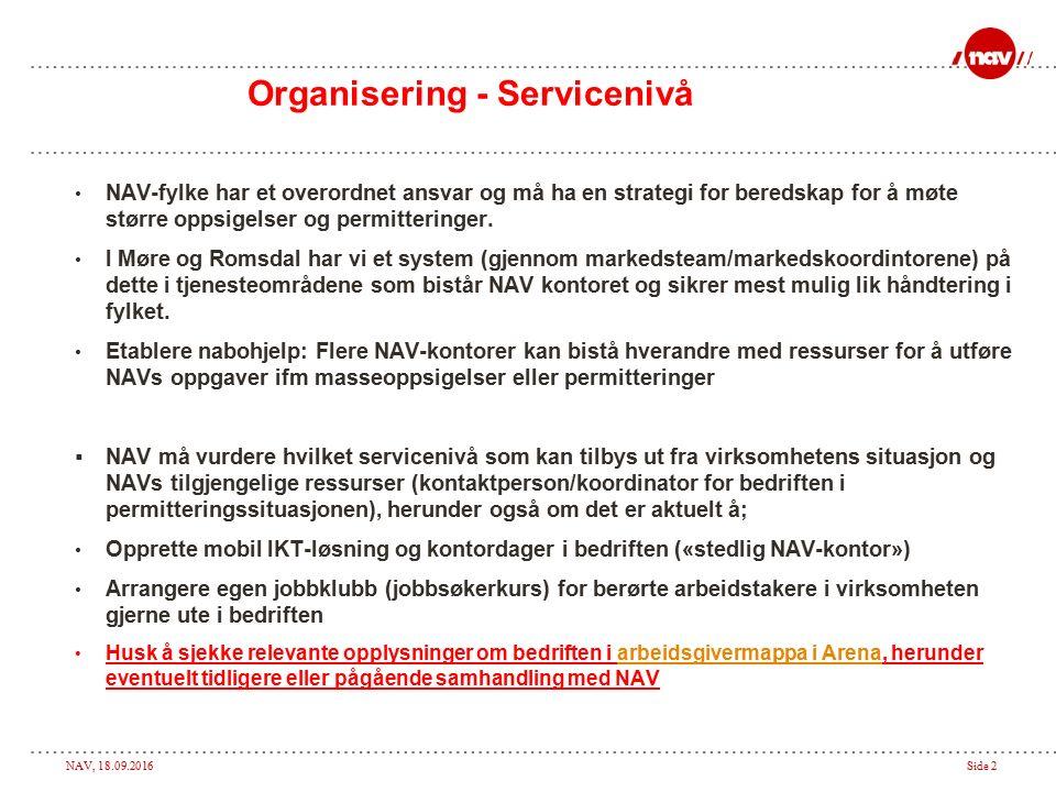 NAV, 18.09.2016Side 2 Organisering - Servicenivå NAV-fylke har et overordnet ansvar og må ha en strategi for beredskap for å møte større oppsigelser og permitteringer.