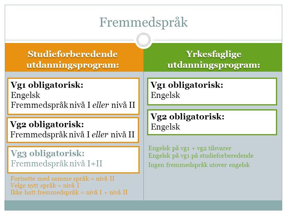 Fortsette med samme språk = nivå II Velge nytt språk = nivå I Ikke hatt fremmedspråk = nivå I + nivå II Studieforberedende utdanningsprogram: Yrkesfaglige utdanningsprogram: Fremmedspråk Vg3 obligatorisk: Fremmedspråk nivå I+II Engelsk på vg1 + vg2 tilsvarer Engelsk på vg1 på studieforberedende Ingen fremmedspråk utover engelsk Vg2 obligatorisk: Fremmedspråk nivå I eller nivå II Vg1 obligatorisk: Engelsk Fremmedspråk nivå I eller nivå II Vg1 obligatorisk: Engelsk Vg2 obligatorisk: Engelsk