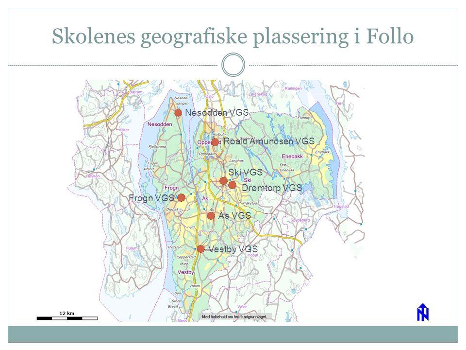 Skolenes geografiske plassering i Follo Nesodden VGS Roald Amundsen VGS Ski VGS Drømtorp VGS Frogn VGS Ås VGS Vestby VGS