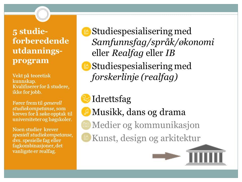 5 studie- forberedende utdannings- program Studiespesialisering med Samfunnsfag/språk/økonomi eller Realfag eller IB Studiespesialisering med forskerl