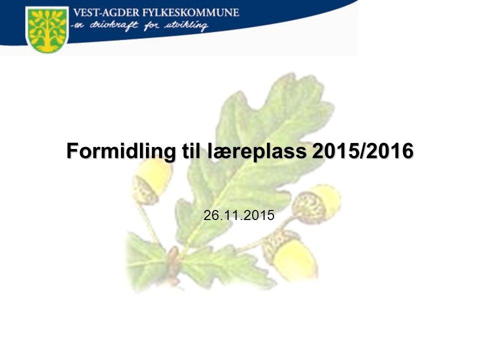 Formidling til læreplass 2015/2016 26.11.2015
