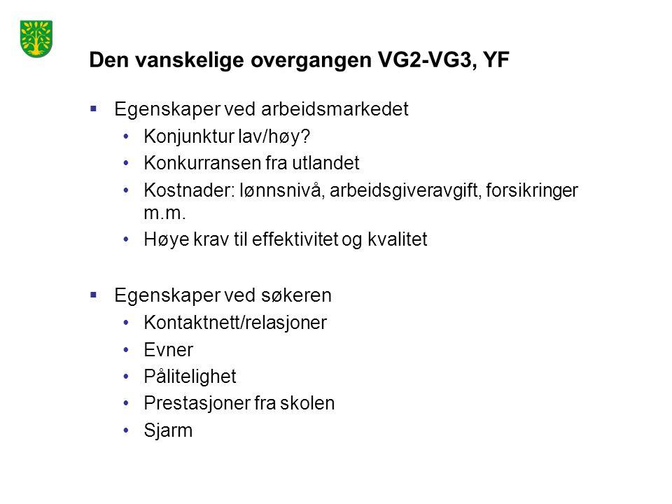 Den vanskelige overgangen VG2-VG3, YF  Egenskaper ved arbeidsmarkedet Konjunktur lav/høy? Konkurransen fra utlandet Kostnader: lønnsnivå, arbeidsgive