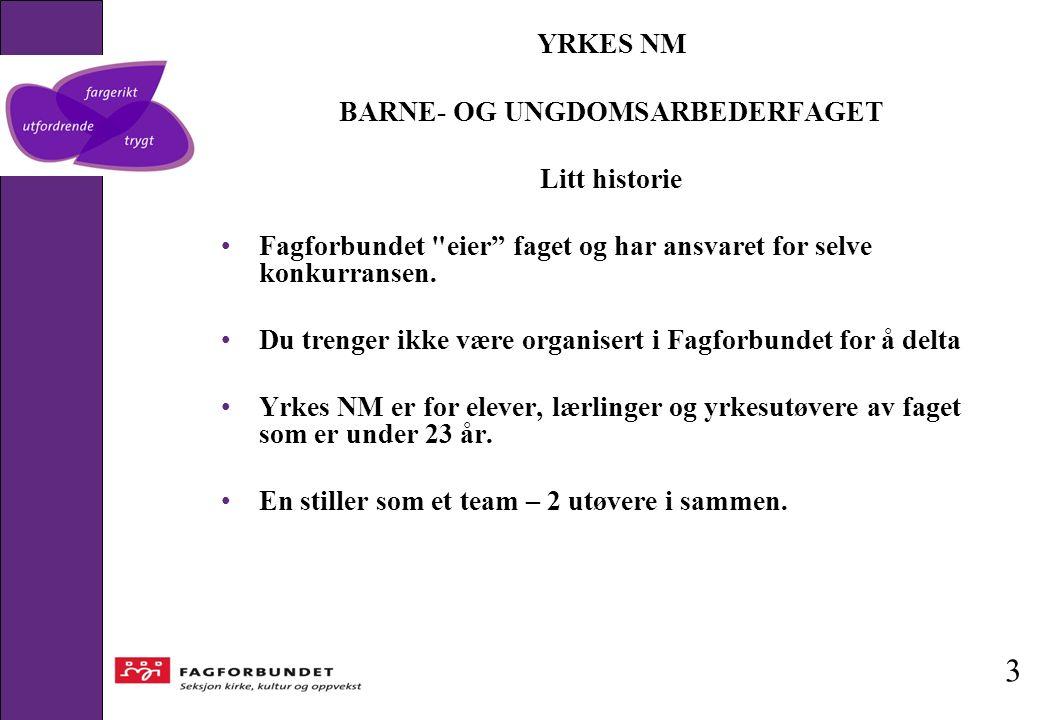YRKES NM BARNE- OG UNGDOMSARBEDERFAGET Litt historie Fagforbundet eier faget og har ansvaret for selve konkurransen.