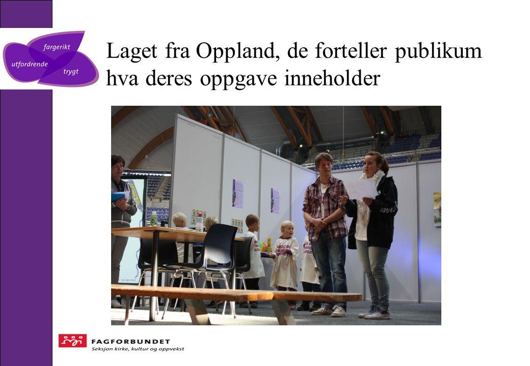 Laget fra Oppland, de forteller publikum hva deres oppgave inneholder