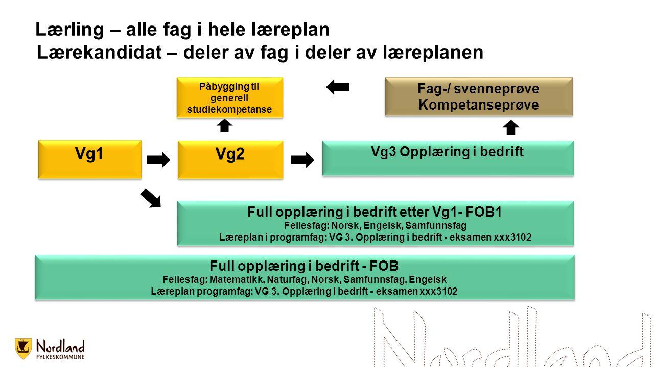 Vg1 Vg2 Vg3 Opplæring i bedrift Fag-/ svenneprøve Kompetanseprøve Fag-/ svenneprøve Kompetanseprøve Påbygging til generell studiekompetanse Full opplæ