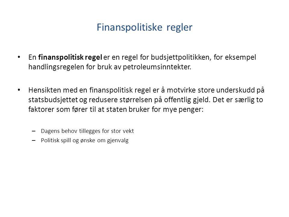 Finanspolitiske regler En finanspolitisk regel er en regel for budsjettpolitikken, for eksempel handlingsregelen for bruk av petroleumsinntekter.
