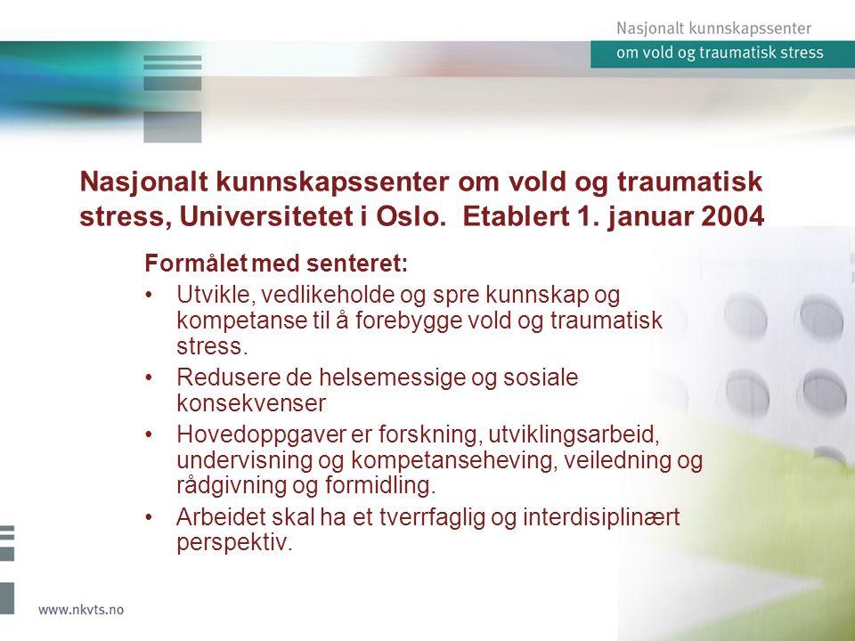 Nasjonalt kunnskapssenter om vold og traumatisk stress, Universitetet i Oslo.