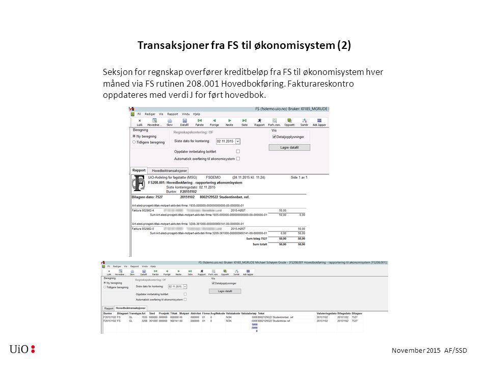November 2015 AF/SSD Transaksjoner fra FS til økonomisystem (2) Seksjon for regnskap overfører kreditbeløp fra FS til økonomisystem hver måned via FS rutinen 208.001 Hovedbokføring.