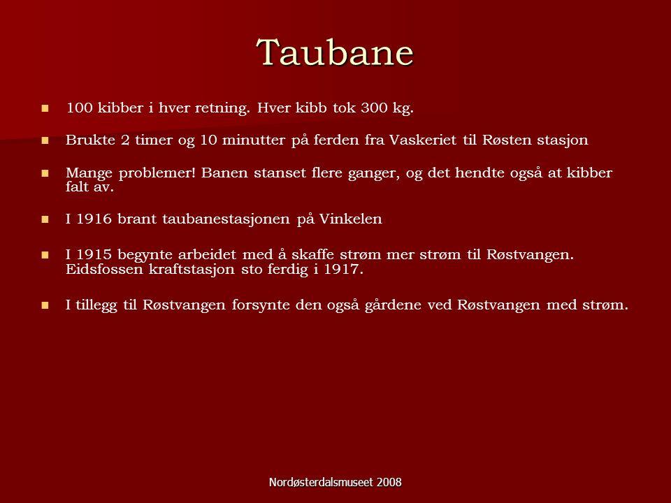 Nordøsterdalsmuseet 2008 Taubane 100 kibber i hver retning.